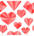 Seamless pattern made of origami paper hearts vector image