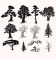set hand drawn trees silhouettes for design vector image