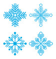 set of 4 snowflakes thin line vector image