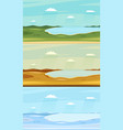set of autumn winter and summer lake landscapes vector image