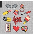Set of contemporary girly patches elements vector image vector image