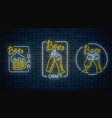 set of three neon beer pub signs in geometrical vector image