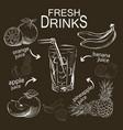 set refreshing fruit drinks vector image vector image