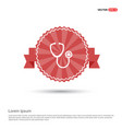 stethoscope icon - red ribbon banner vector image