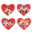 valentines day card with set of big red hearts vector image