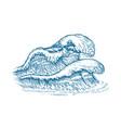 waves sketch seascape vintage vector image