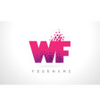 wf w f letter logo with pink purple color and vector image vector image