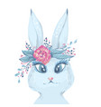 white rabbit portrait with rose watercolor easter vector image vector image