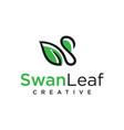 wing leaf logo design swan spa goose vector image vector image