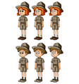 woman and man in safari outfit vector image vector image