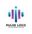 abstract modern pulse logo vector image vector image