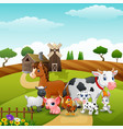 animals group at the path of farm vector image vector image