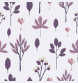 autumn leaves seamless pattern in purple toned vector image vector image
