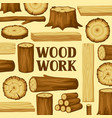 background with wood logs trunks and planks vector image vector image