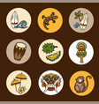 bali icons set vector image vector image