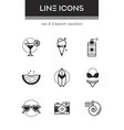 beach vacation - set of line design style icons vector image