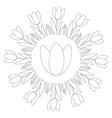black and white circular spring mandala tulip vector image vector image