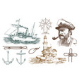 boatswain with pipe lighthouse and sea captain vector image