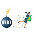 businesswoman run away from debt bomb vector image