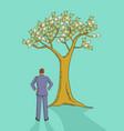cartoon a man looking at money tree vector image vector image
