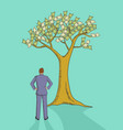 cartoon of a man looking at money tree vector image