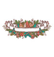 christmas doodle ribbon vector image vector image