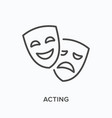 comedy and tragedy masks flat line icon vector image vector image