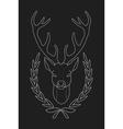 Deer head in laurel wreath heraldry emblem Chalk vector image vector image