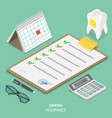 dental insurance flat isometric concept vector image vector image