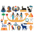 egyptian elements ancient gods pyramids vector image