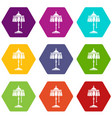 electric lamp icons set 9 vector image vector image