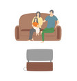 family evening father mother and child watching tv vector image vector image