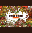 fast food background with flying products vector image vector image