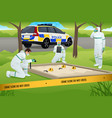 forensic working on a crime scene vector image vector image