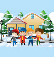 four boys standing on the road covered with snow vector image vector image