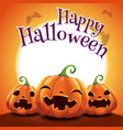 halloween poster with realistic pumpkins on orange vector image vector image