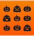 halloween pumpkins in with set different vector image vector image