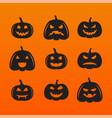 halloween pumpkins in with set different vector image vector image