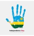 Handprint with the Flag of Rwanda in grunge style vector image vector image