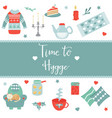 hygge background with cozy things and elements