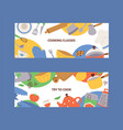 kitchen utensils banner cartoon kitchenware vector image