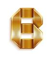 Letter metal gold ribbon - B vector image vector image