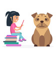 little girl reads from tablet beside huge dog vector image