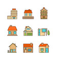 minimal lineart flat buildings iconset vector image vector image