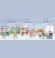 people going shopping in organic market flat set vector image vector image