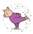 pig runs on skates symbol 2019 vector image vector image