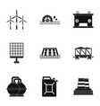 power generation icon set simple style vector image vector image