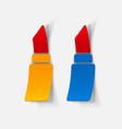 realistic paper sticker lipstick vector image vector image