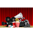 Red curtain cinema films and popcorn on the stage vector image vector image