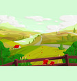 rural landscape with agro field vector image vector image